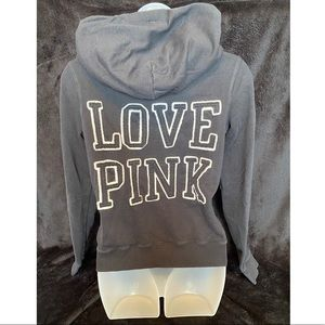 VS PINK Black Zip-Up Hoodie Medium